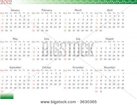 Decorated Calendar Of 2012
