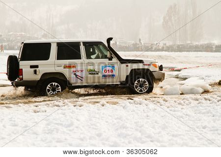Almaty, Kazakhstan - February 11, 2012. Off-road Racing Jeeps,  Festival, Devoted To 20Th Anniversar