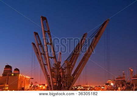 Navy Ship Cranes At Night