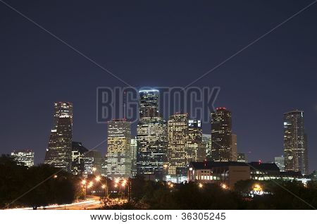 Houston Skyline bei Nacht