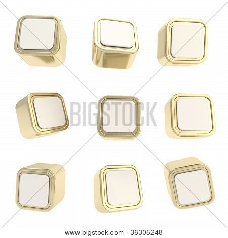 Cubic Square Buttons, Set Of Nine Isolated On White
