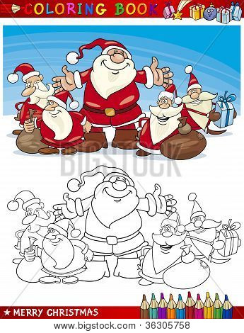 Cartoon Santa Claus Group For Coloring