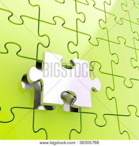 Puzzle Jigsaw Background With One Piece Stand Out