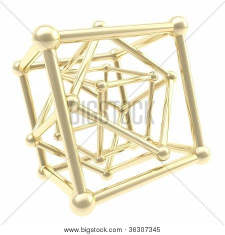 Cube Carcass Golden Framework As Abstract Background