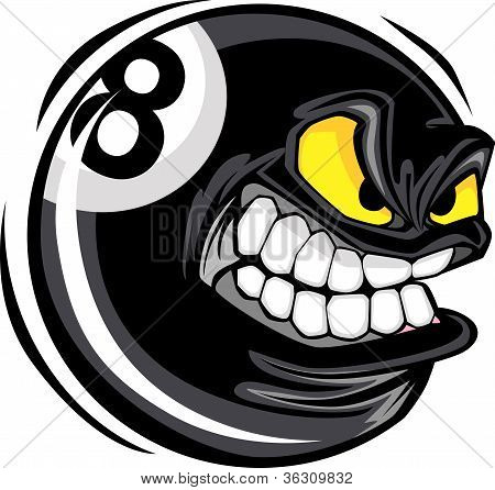 Billiards Eight Ball With Angry Face Cartoon Vector Design