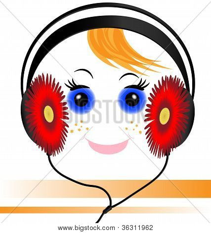 funny face of the boy with headphones