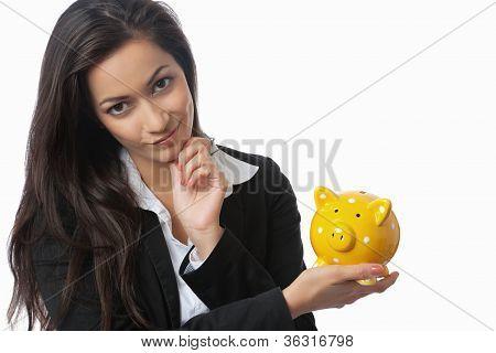 Asian Businesswoman Presenting Piggy Bank