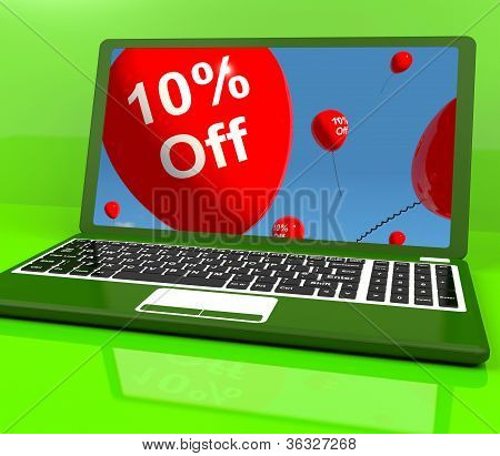 Balloons On Computer Showing Sale Discount Of Ten Percent Online