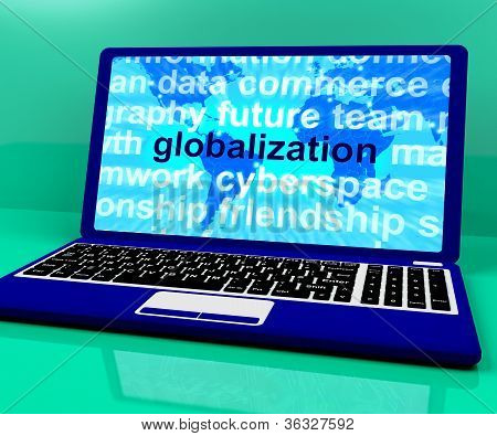 Globalization Word On Laptop Showing International Business