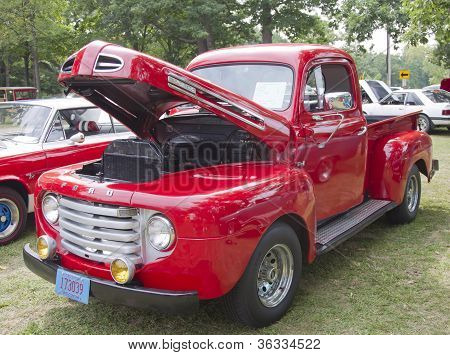 1950 Red Ford F1 Pickup