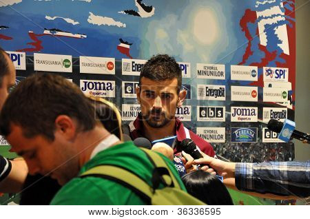 Soccer player at press conference