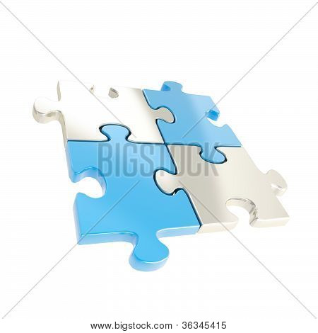 Four Linked Puzzle Jigsaw Pieces Isolated