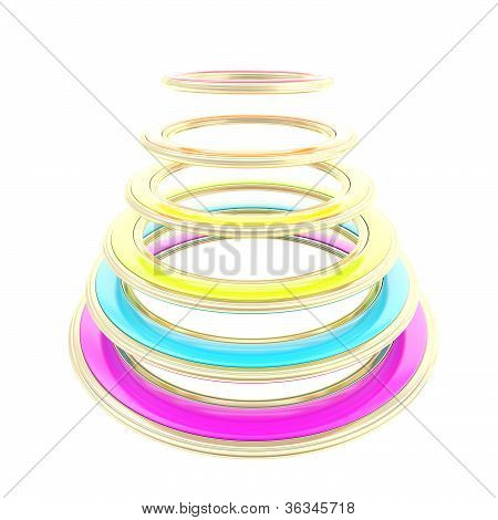 Abstract Construction Made Of Rainbow Colored Circles
