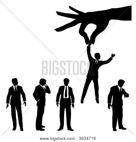 Hand Selects Business Man Silhouette From Group Of People