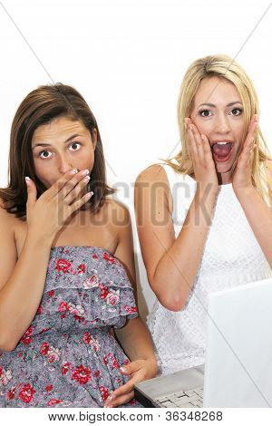Two Women Reacting In Shocked Awe