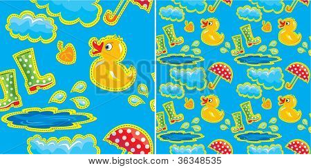 Seamless Pattern With Rubber Duck And Boots, Clouds, Umbrella And Puddle - Autumn Design For Kids