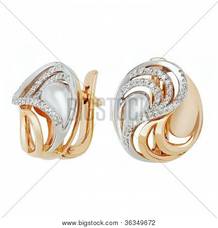 Jewelry Earring Isolated On The White Background