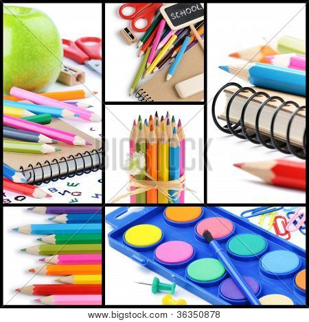 Colorful School Supplies. Collage