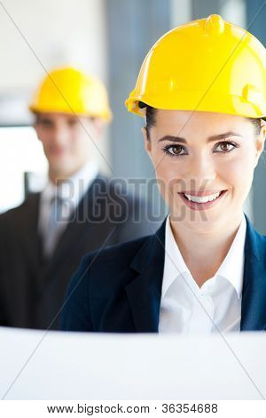 attractive young female architect closeup portrait