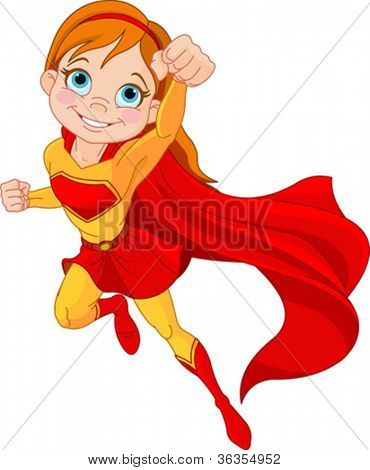Illustration of Super Hero Girl in the fly