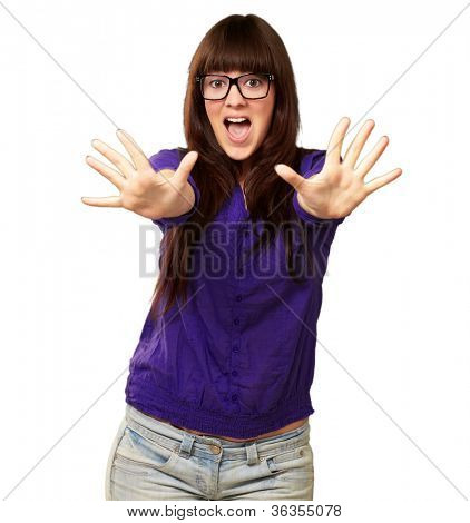 Woman Stopping With Hands Isolated On White Background