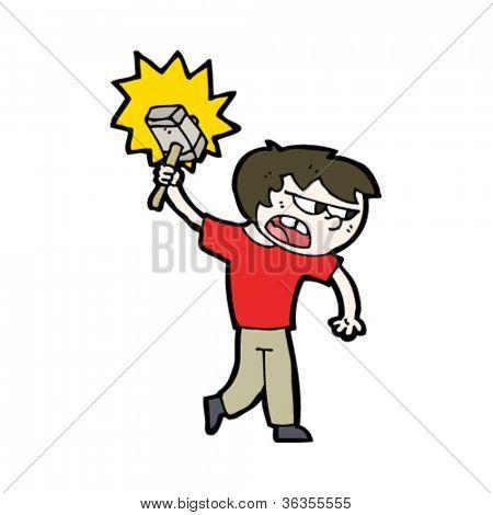 cartoon boy with magic hammer