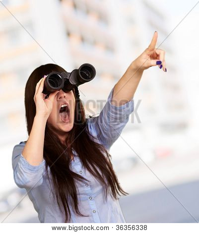 Portrait Of A Young Woman Looking Through Binoculars, Background