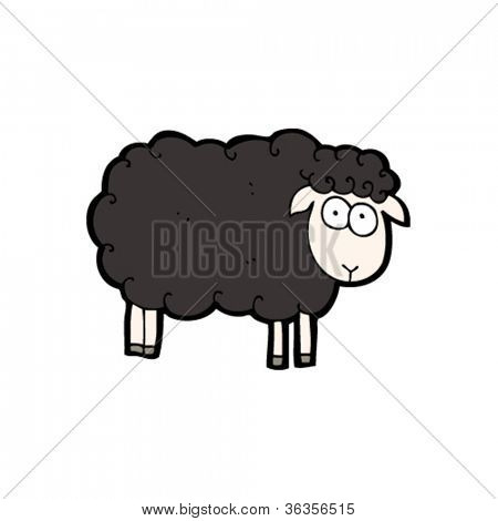 funny black sheep cartoon