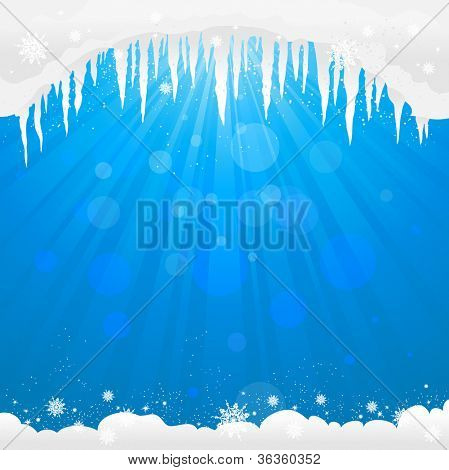 Winter background  with icicles with space for text