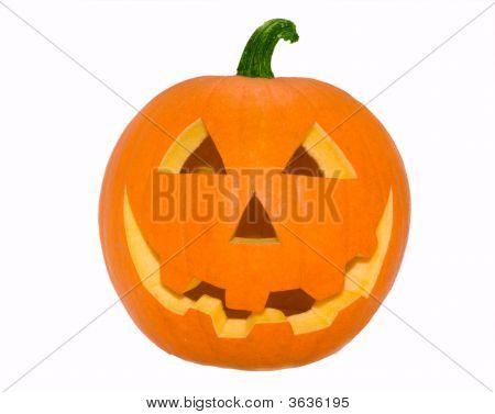 Halloween Orange Pumpkin Over White