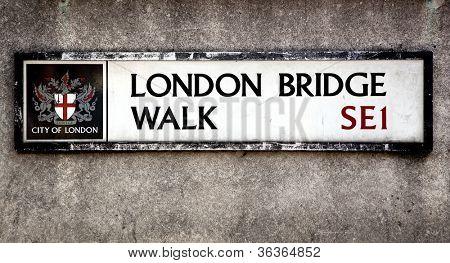 London Bridge street sign, London, UK