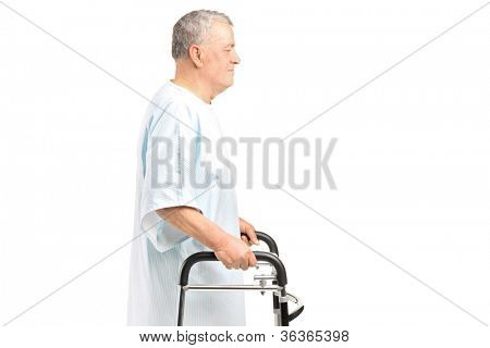 A senior patient using a walker isolated on white