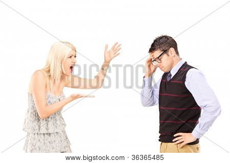 Angry woman shouting at a man, isolated on white background