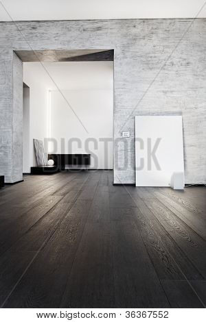 Modern minimalism style corridor interior in black and white tones
