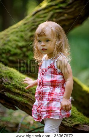 Little girl in the dark green forest