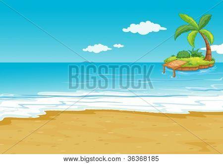 illustration of a green landscape on blue background