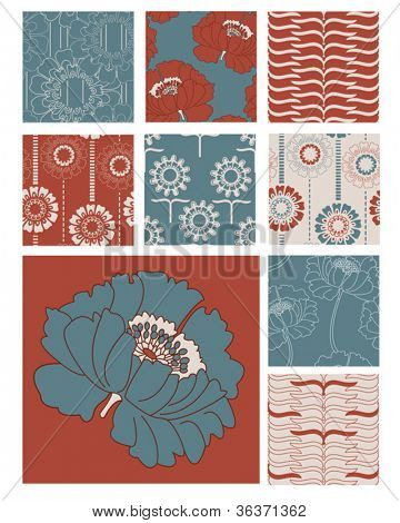 Floral Poppy Seamless Vector Patterns.  Use to create digital paper, backgrounds or elements for scrap booking or fabric projects.