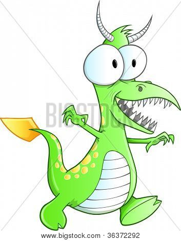 Cute Green Monster Vector Art