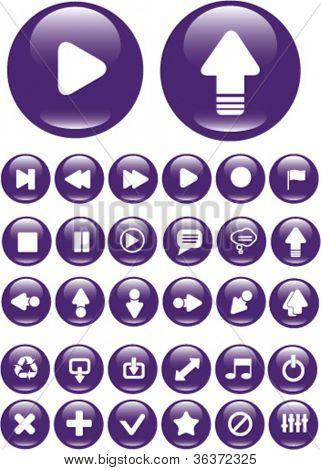 media player interfaz aplicación iconos set, vector
