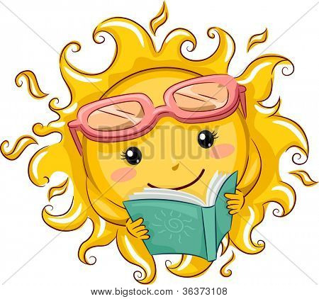Illustration of a Relaxed Sun Reading a Book