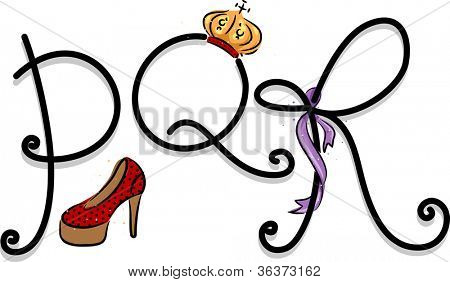 Text Illustration Featuring a Girly Alphabet with the Letters P, Q, and R