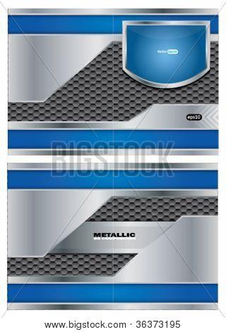 Abstract metallic vector brochure
