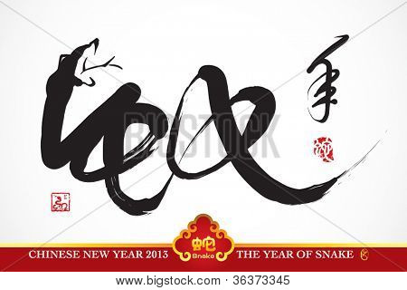 Vector Snake Calligraphy, Chinese New Year 2013 Translation: Snake Year