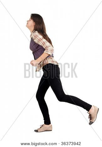 back view of running woman . walking girl in motion. Rear view people collection.  backside view of person. Isolated over white background.