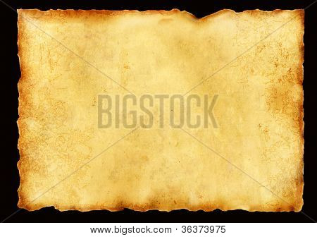 Old parchment. Isolated over black
