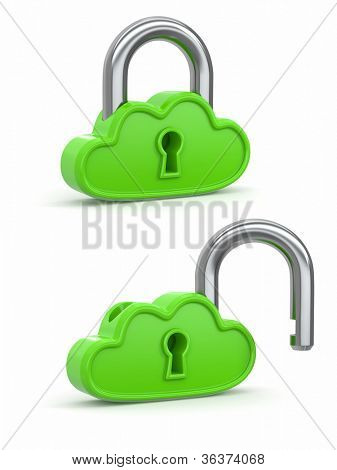 Cloud computing as padlock. Security concept. 3d