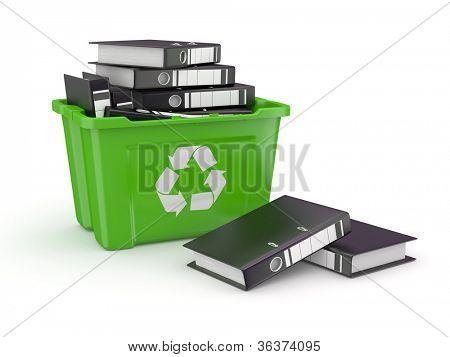 Folders in recycle bin on white background. 3d