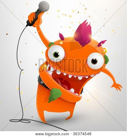Rockstar funny character, vector illustration