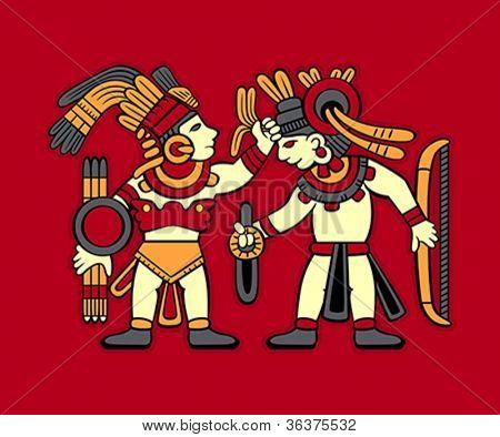Guerreiros astecas redskin começando a lutar