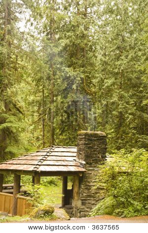 Wilderness Camp With Stone Fireplace